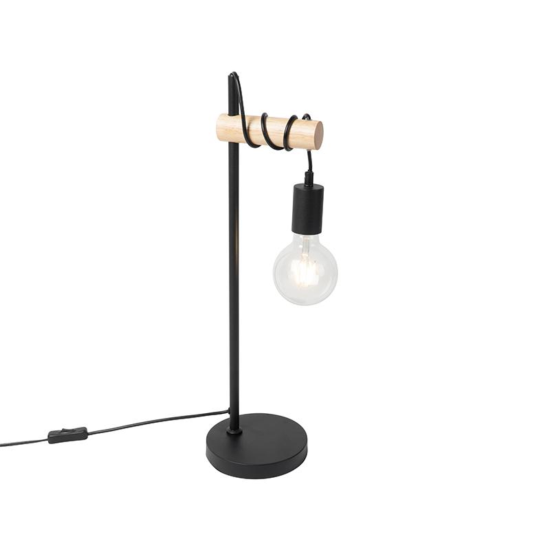 Landelijke tafellamp zwart met hout - Dami