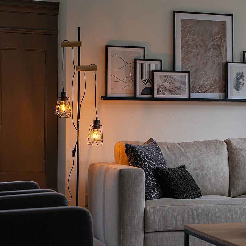 Landelijke vloerlamp zwart met hout 2-lichts met kap - Dami Frame