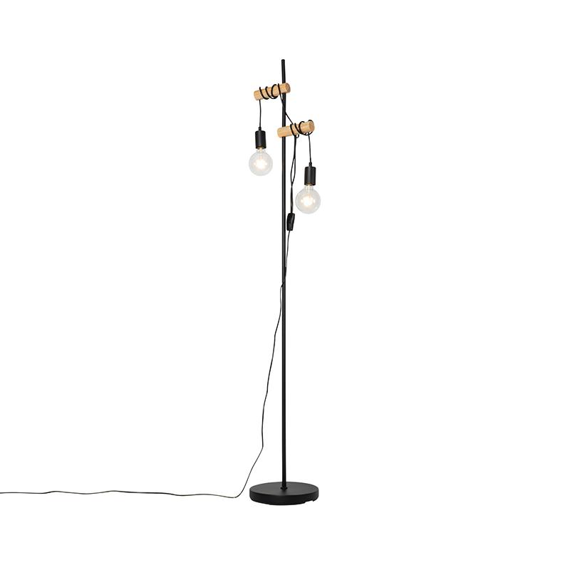 Landelijke vloerlamp zwart met hout 2-lichts - Dami