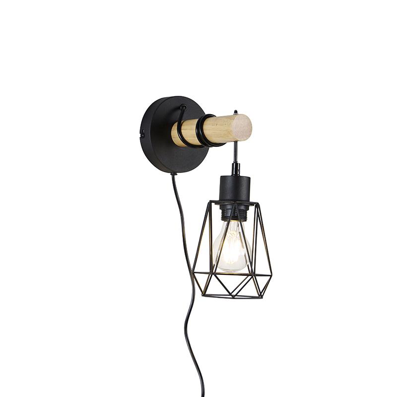 Landelijke wandlamp zwart met hout - Dami Frame