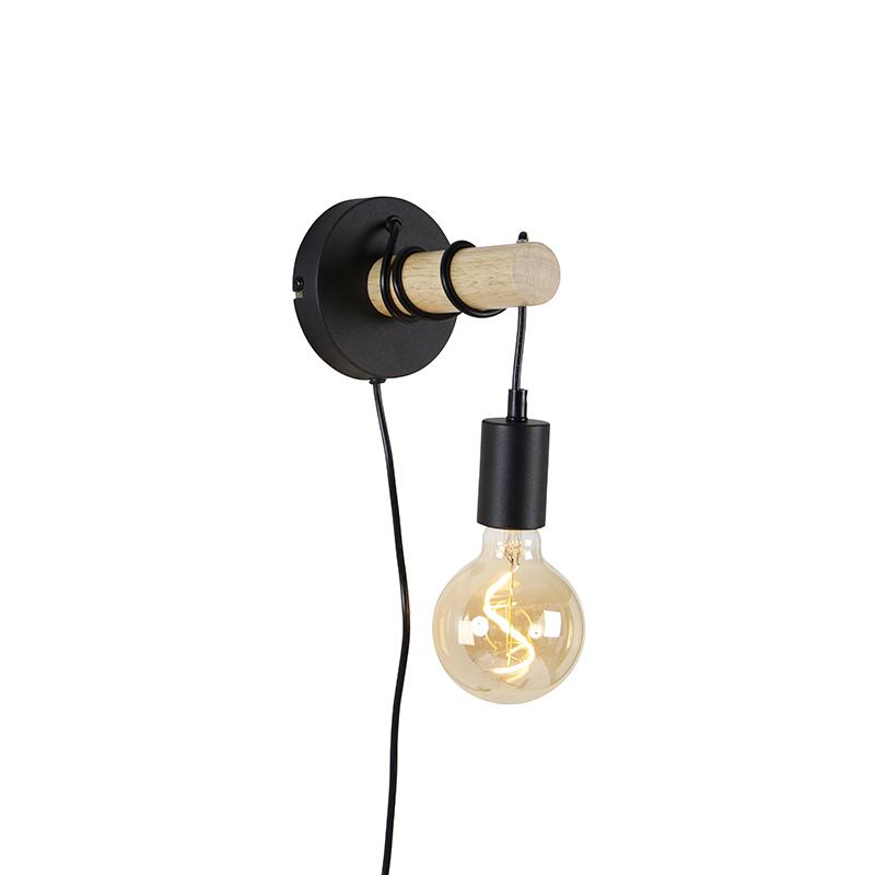 Landelijke wandlamp zwart met hout - Dami