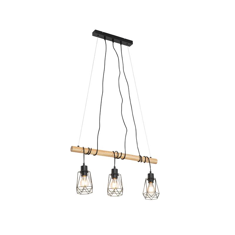 Landelijke hanglamp zwart met hout 3-lichts - Dami Frame