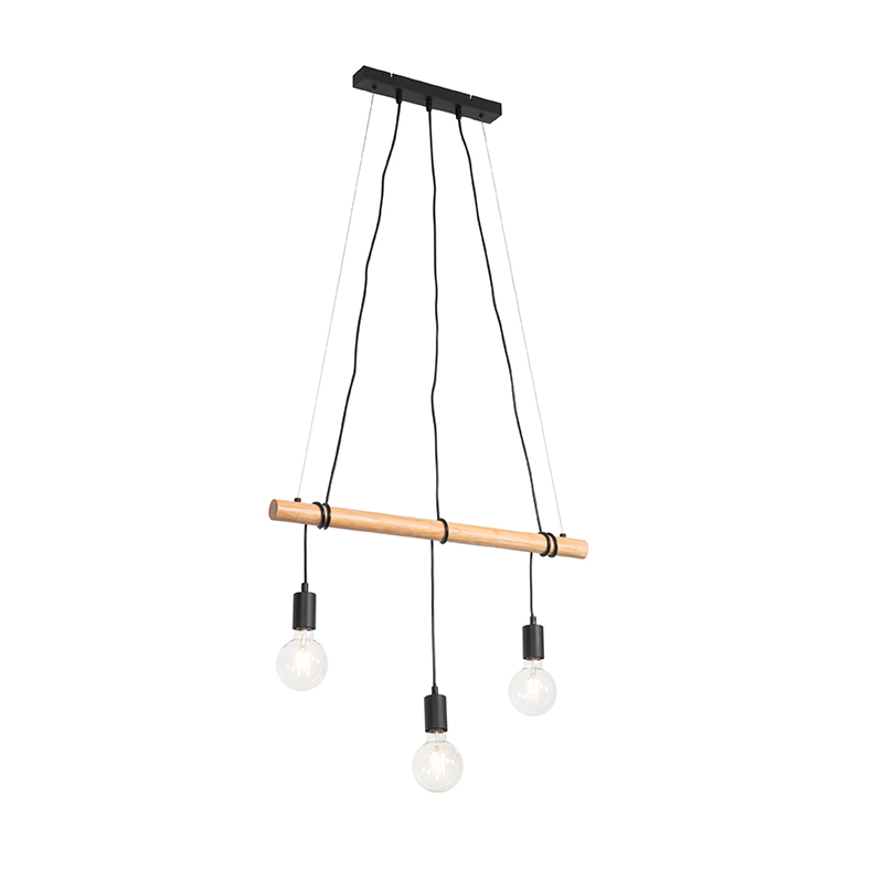 Landelijke hanglamp zwart met hout 3-lichts - Dami