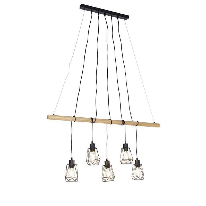 Landelijke hanglamp zwart met hout 5-lichts - Dami Frame