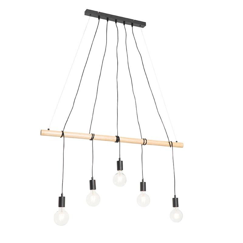 Landelijke hanglamp zwart met hout 5-lichts - Dami