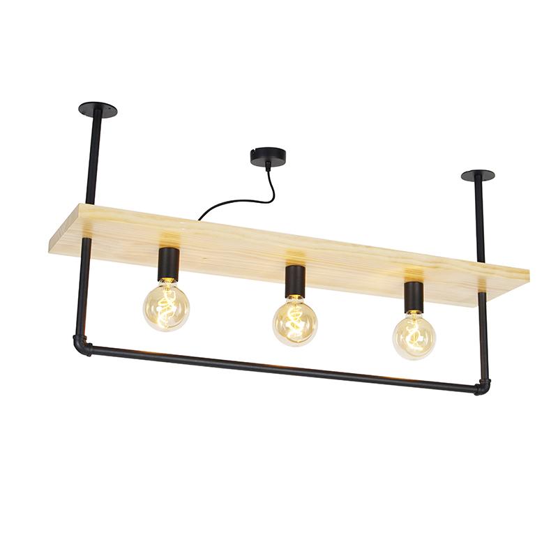 Industriële plafondlamp zwart met hout 3-lichts - Shelf