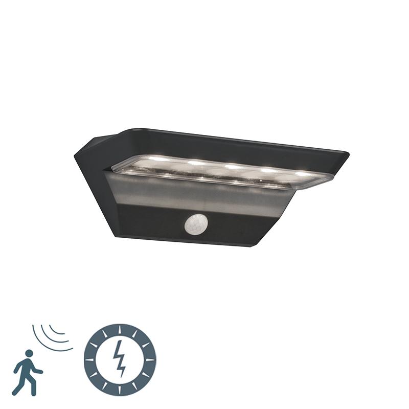 Buitenwandlamp antraciet met bewegingssensor op solar - Mendo