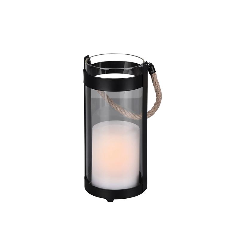 Tafellamp zwart incl. LED IP44 solar met flame effect - Muna