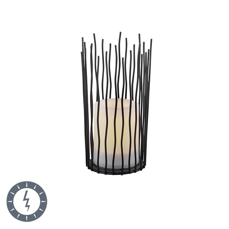 Tafellamp zwart met flame effect incl. LED op solar IP44 - Cordo