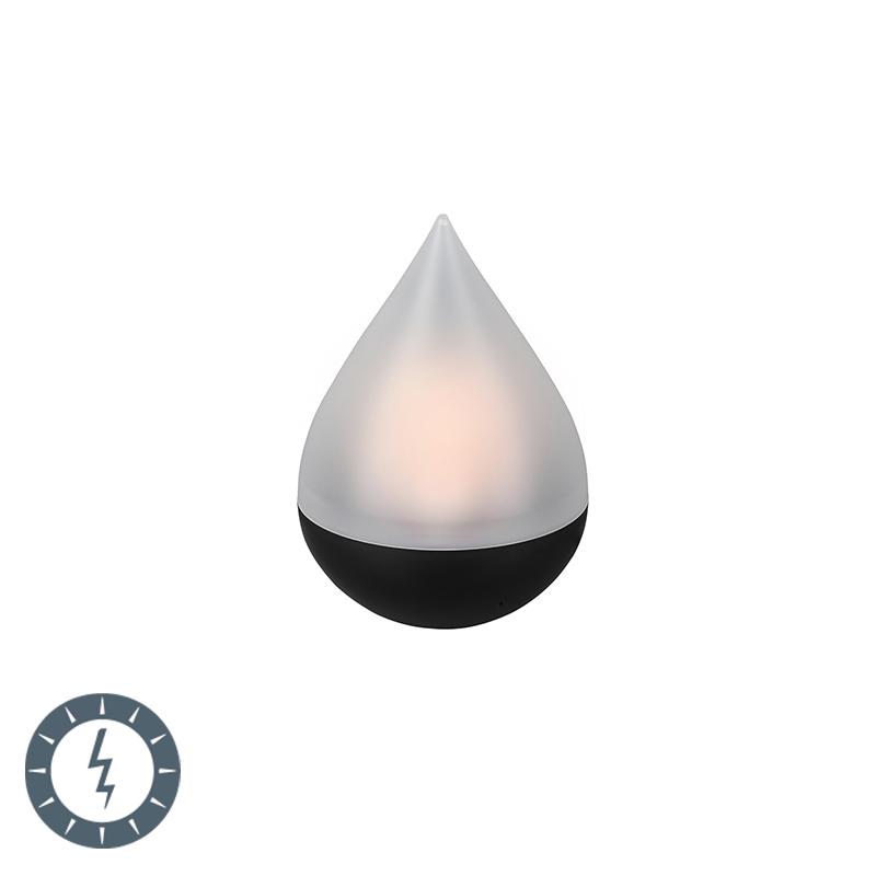 Tafellamp zwart met flame effect incl. LED op solar IP44 - Calero