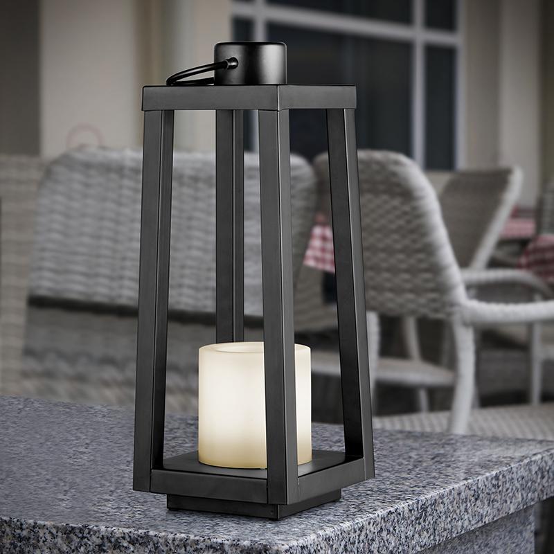 Tafellamp zwart met flame effect incl. LED op solar IP44 - Lajo
