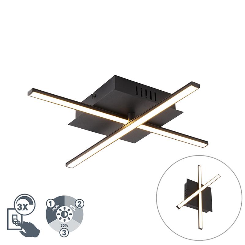 Moderne plafondlamp zwart incl. LED 3-staps dimbaar - Cruz
