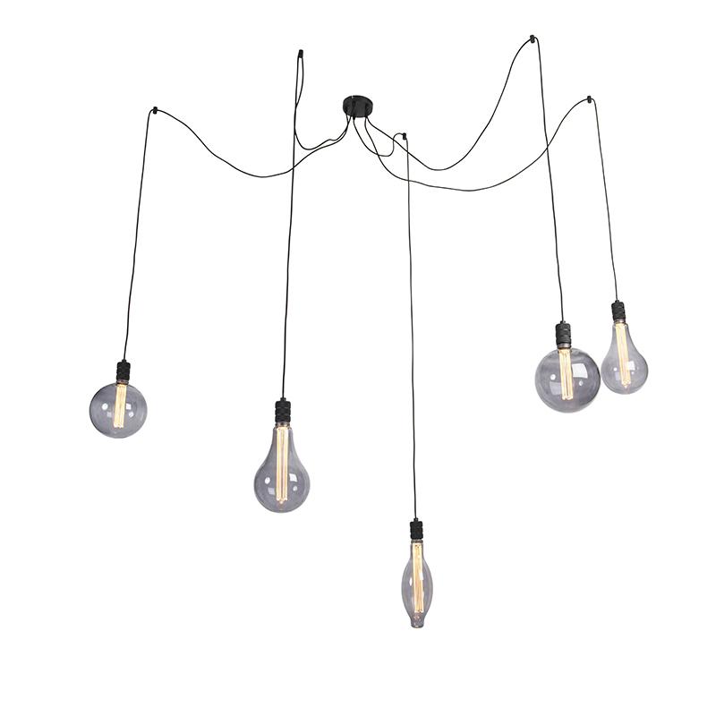 Hanglamp smoke glass incl. 5 lichtbronnen dimbaar - Cavalux
