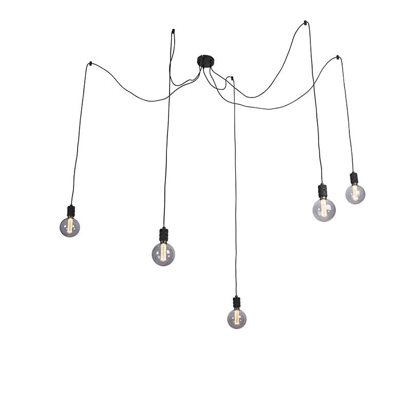 Hanglamp zwart incl. 5 3-staps dimbare G125 lampen - Cavalux