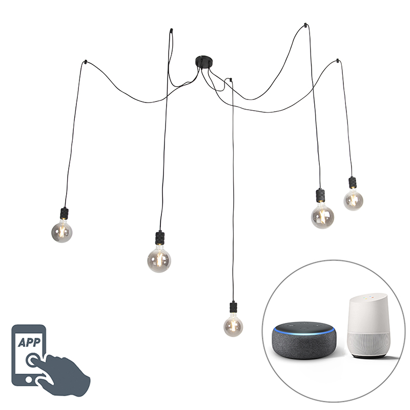 Lampa wisząca czarna 5 x E27 G125 wifi - Cavalux