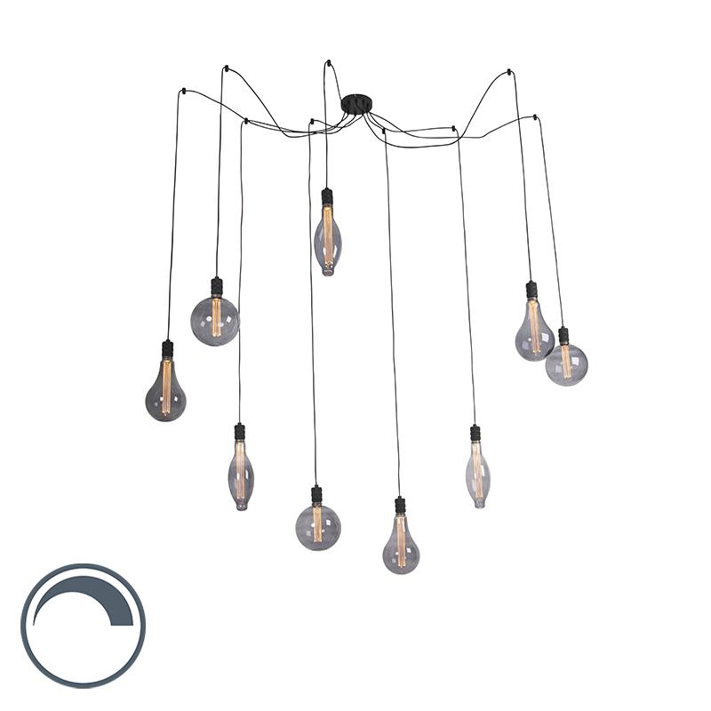 Lampa wisząca przydymionego szkła z 9 źródłami światła ściemnianymi - Cavalux