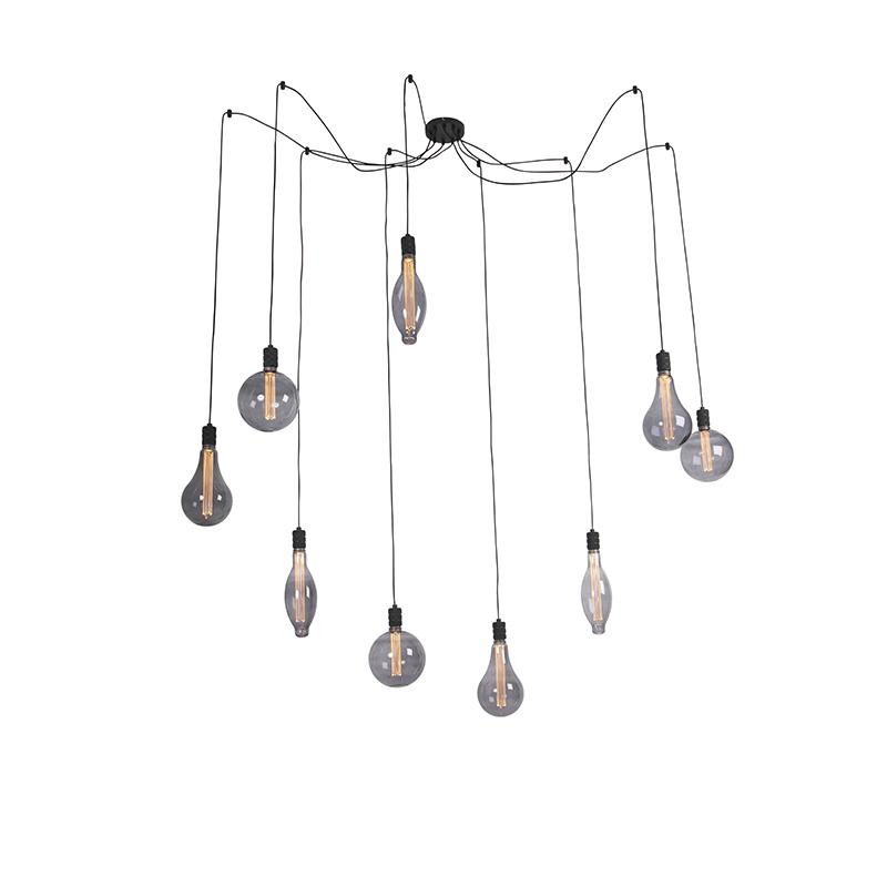 Hanglamp smoke glass incl. 9 lichtbronnen dimbaar - Cavalux