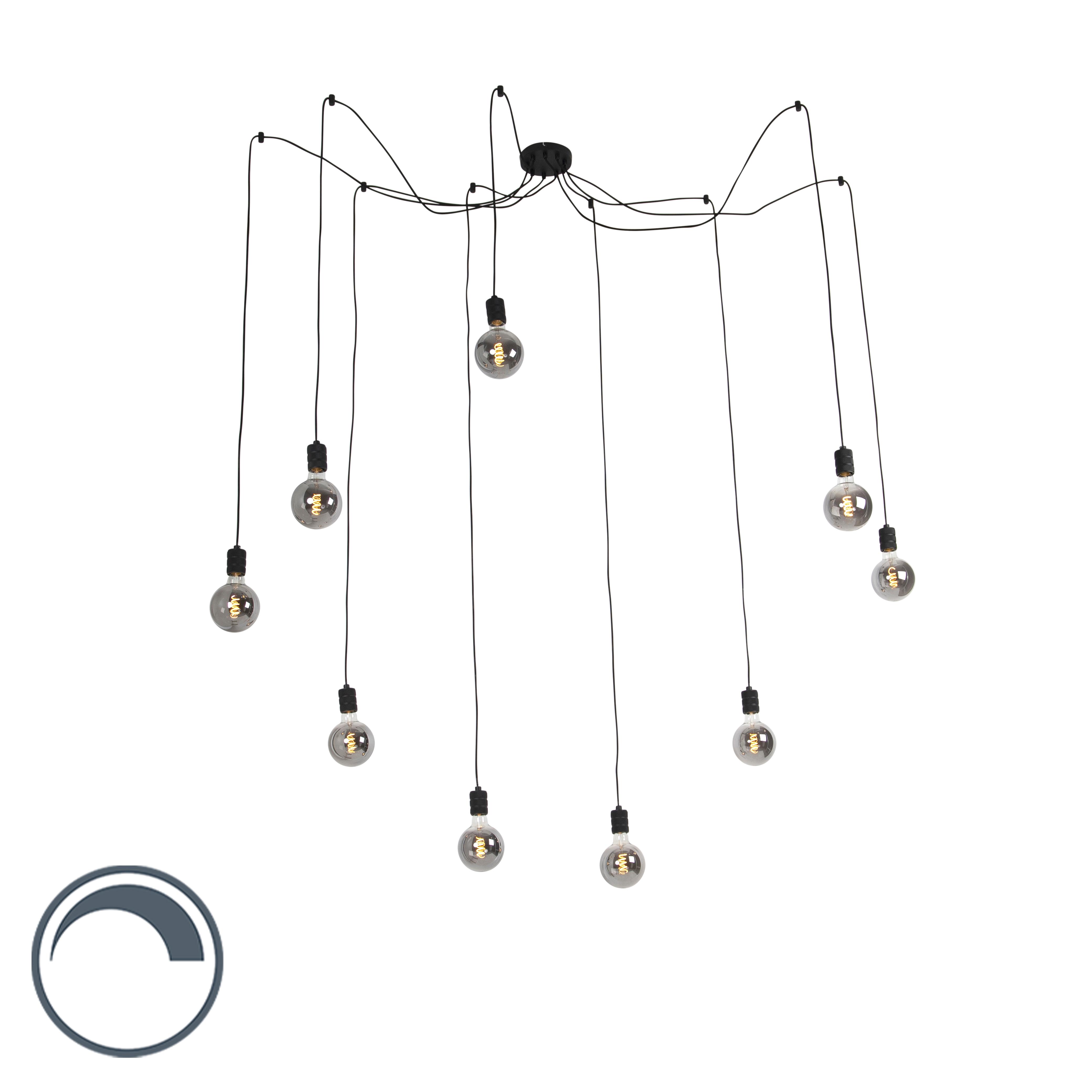 Lampa wisząca czarna 9 x E27 G125 przydymiona ściemnialna - Cavalux