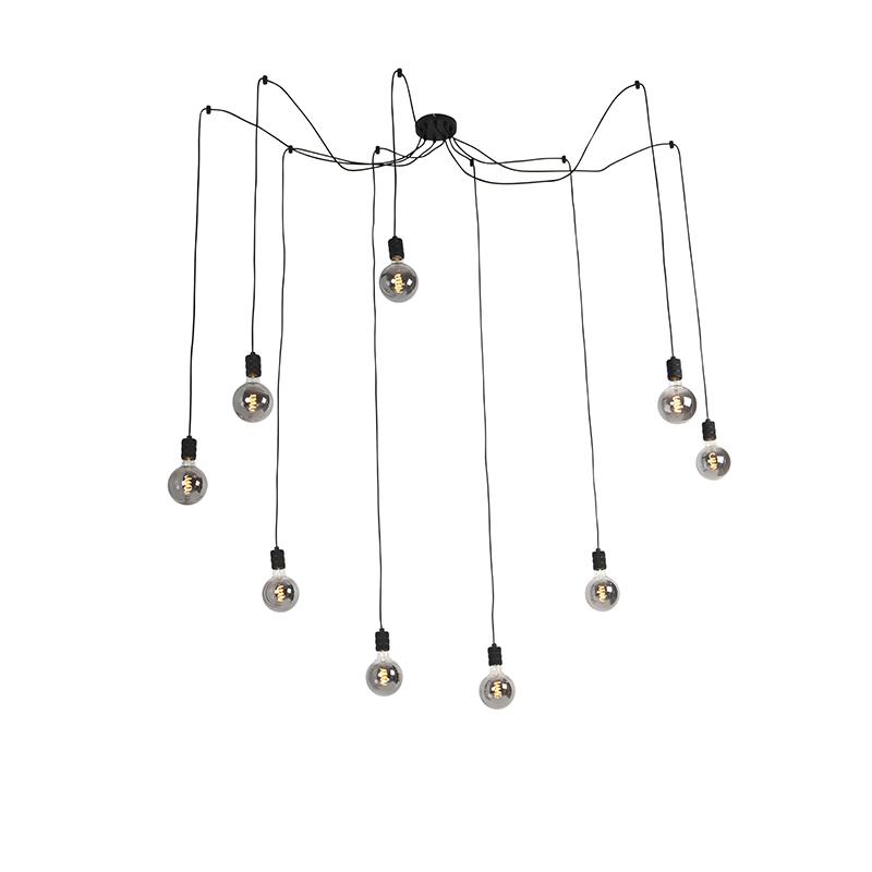 Hanglamp zwart incl. 9 dimbare G195 lampen smoke - Cavalux