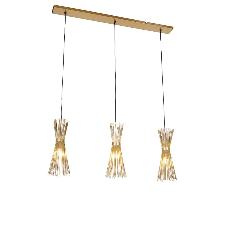 Landelijke hanglamp goud langwerpig 3-lichts - Broom