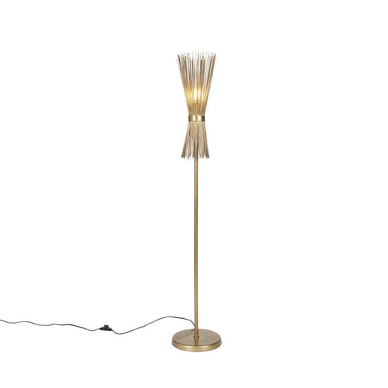 Landelijke vloerlamp goud - Broom