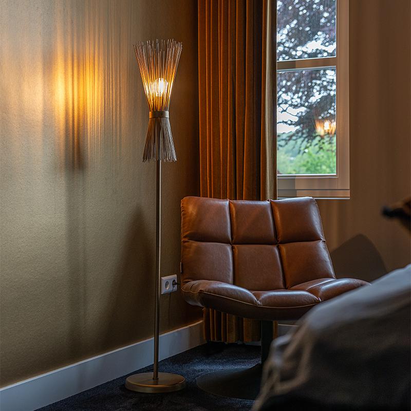 Art Deco vloerlamp goud - Broom