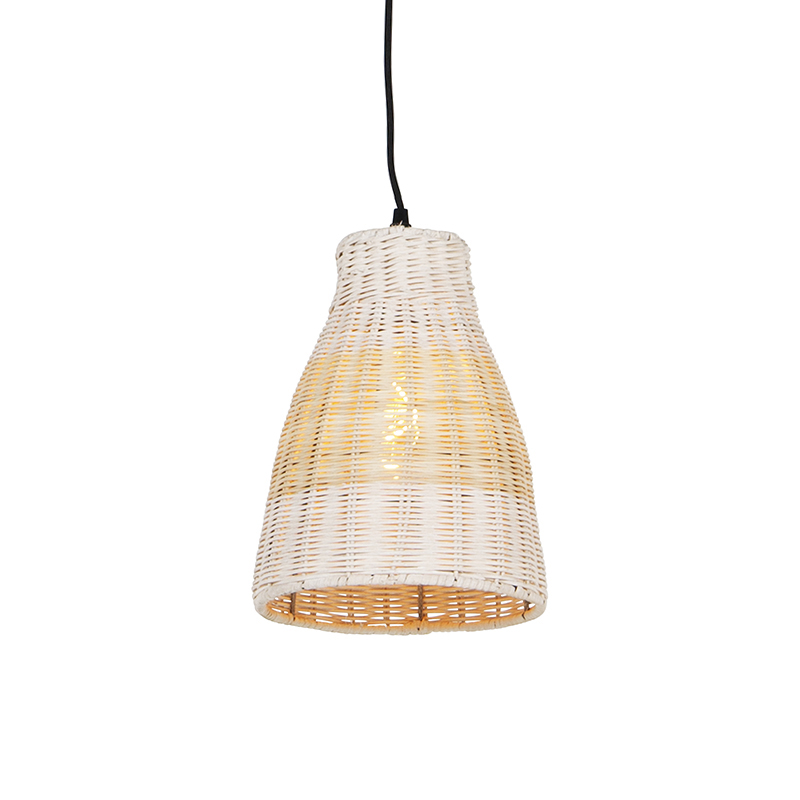 Wiejska lampa wisząca biała z drewnem 20 cm - Burn Rattan