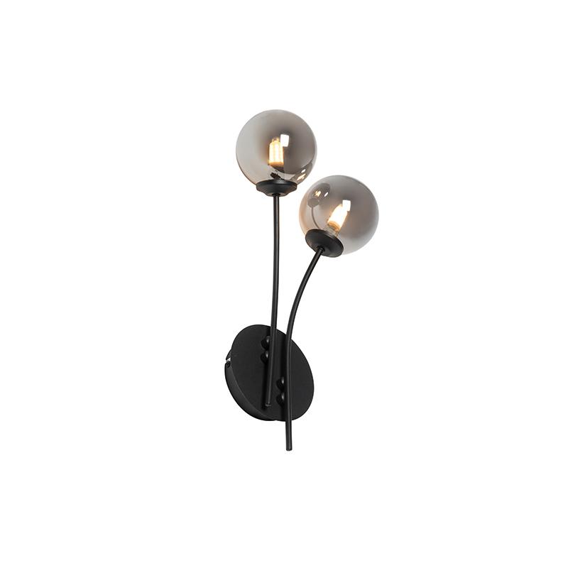 Moderne wandlamp zwart 2-lichts met smoke glas - Athens