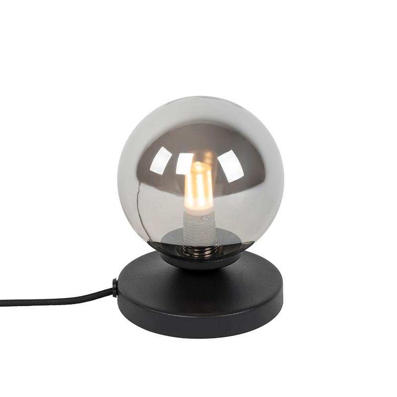 Moderne tafellamp zwart met smoke glas - Athens