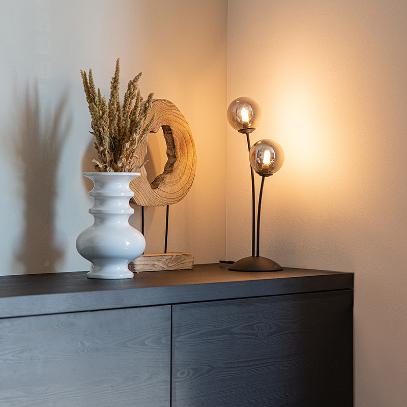 Moderne tafellamp zwart 2-lichts met smoke glas - Athens