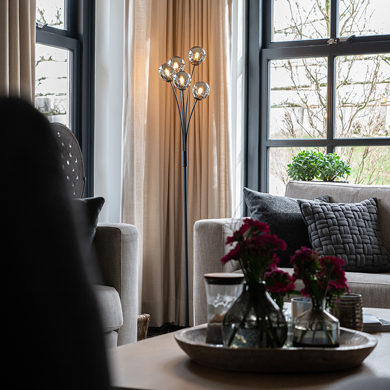 Moderne vloerlamp zwart 5-lichts met smoke glas - Athens