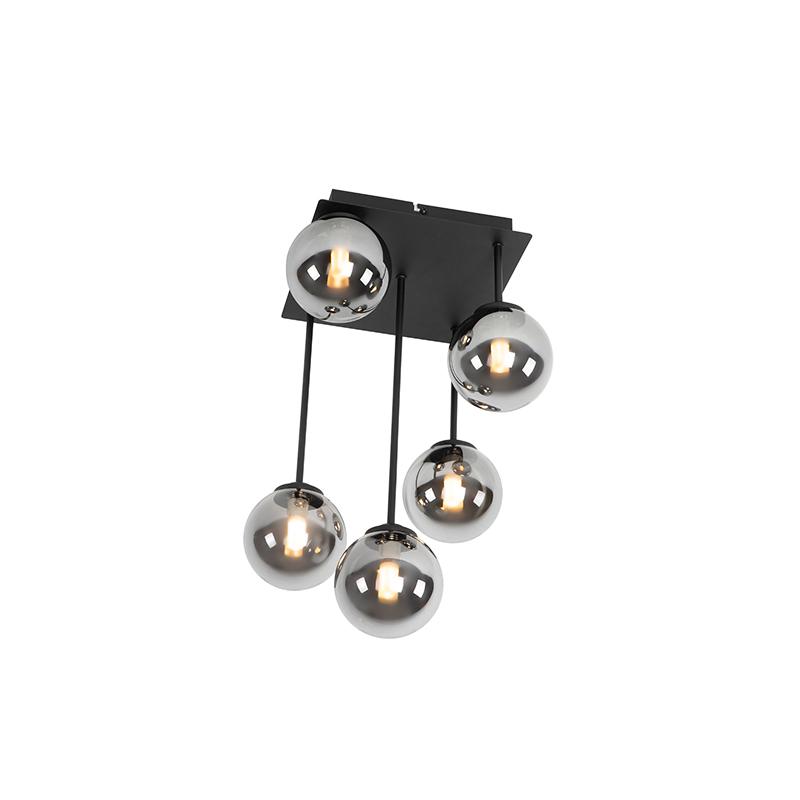 Moderne plafondlamp zwart 5-lichts met smoke glas - Athens