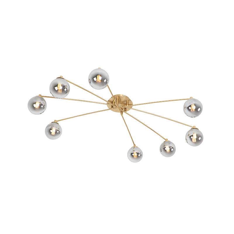 Moderne plafondlamp goud 8-lichts met smoke glas - Athens