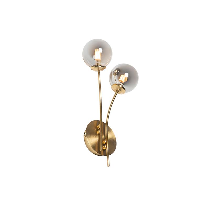 Moderne wandlamp goud 2-lichts met smoke glas - Athens