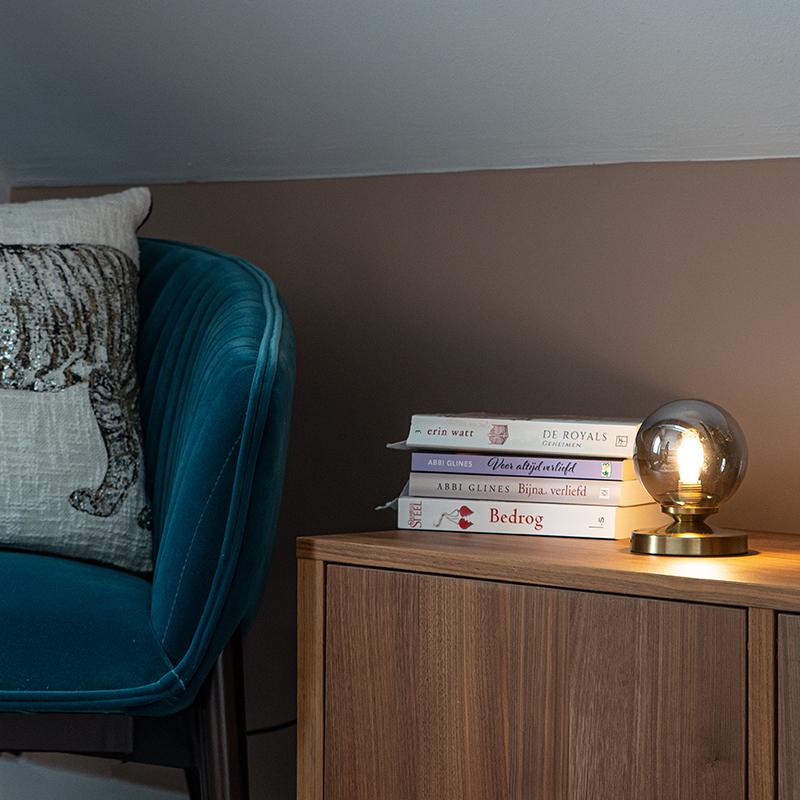 Moderne tafellamp goud met smoke glas - Athens
