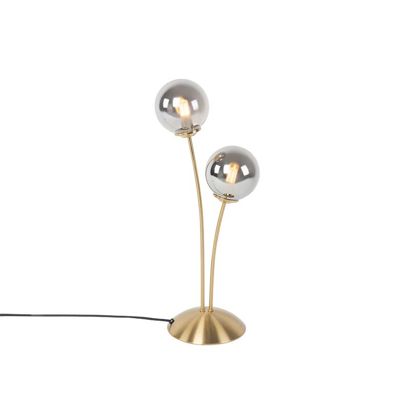 Moderne tafellamp goud 2-lichts met smoke glas - Athens