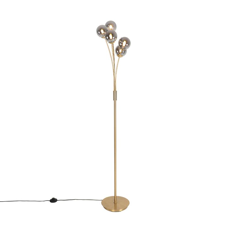 Moderne vloerlamp goud 5-lichts met smoke glas - Athens