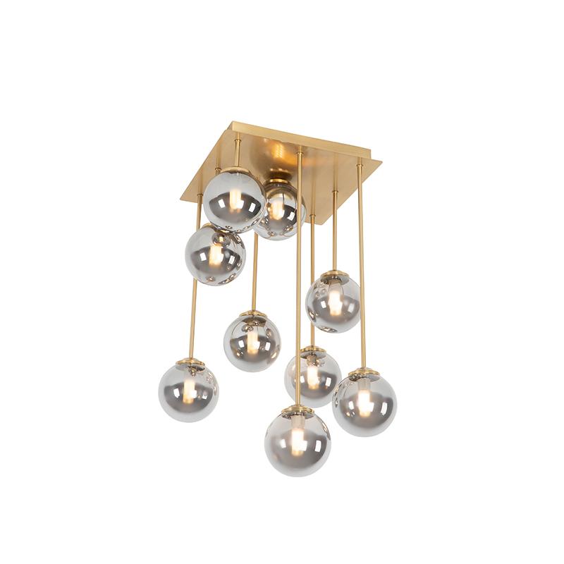 Moderne plafondlamp goud 9-lichts met smoke glas - Athens