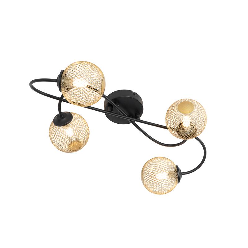 Moderne plafondlamp zwart met goud 4-lichts - Athens Wire