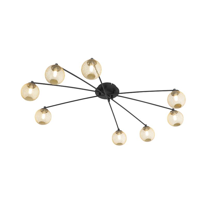 Moderne plafondlamp zwart met goud 8-lichts - Athens Wire