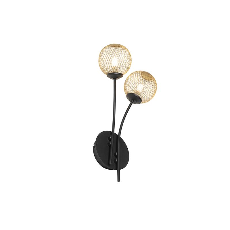 Landelijke wandlamp zwart en goud 2-lichts - Athens Wire