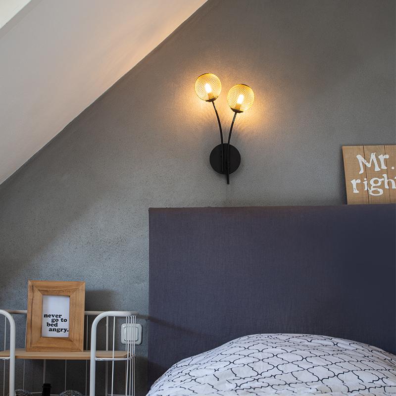 Moderne wandlamp zwart met goud 2-lichts - Athens Wire