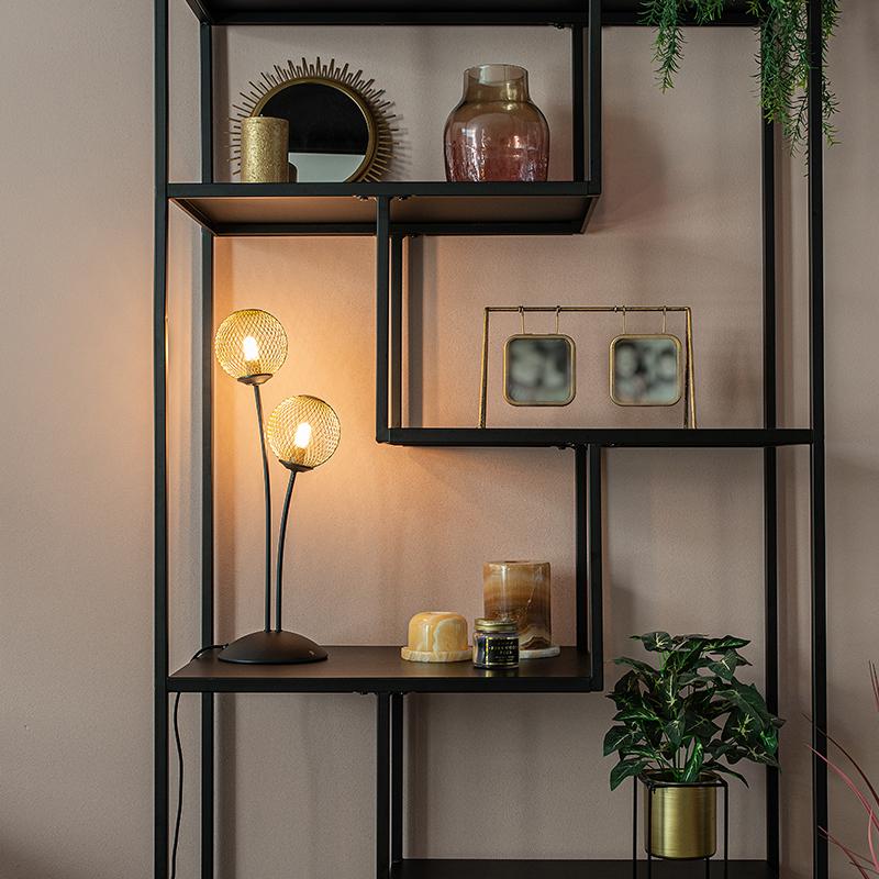 Moderne tafellamp zwart met goud 2-lichts - Athens Wire
