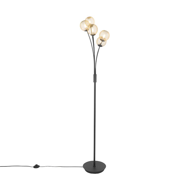Moderne vloerlamp zwart met goud 5-lichts - Athens Wire