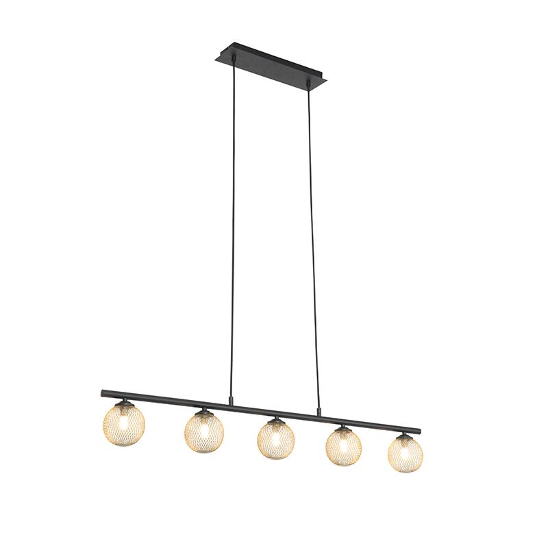 Moderne hanglamp zwart met goud 100 cm 5-lichts - Athens Wire