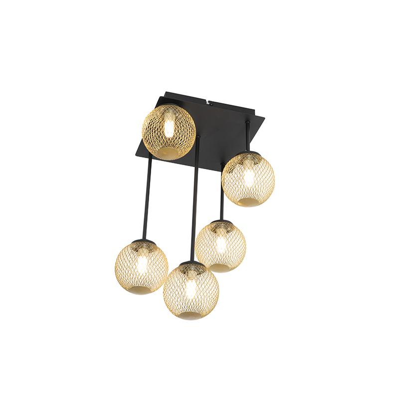 Moderne plafondlamp zwart met goud 5-lichts - Athens Wire