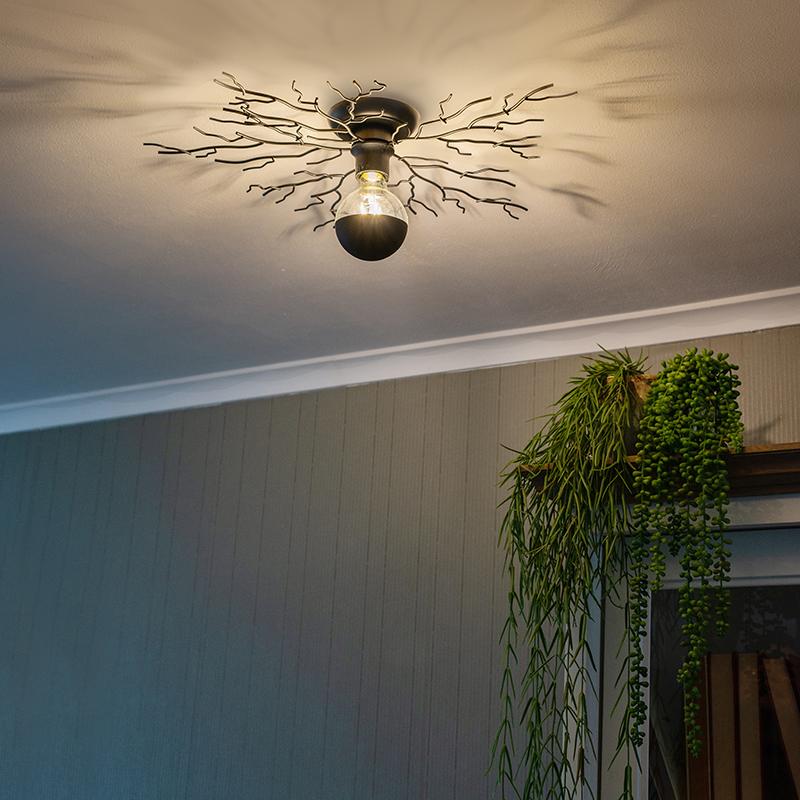 Landelijke plafondlamp zwart 60 cm - Forest