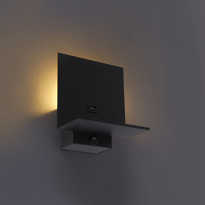 Moderne wandlamp zwart incl. USB-aansluiting - Flero
