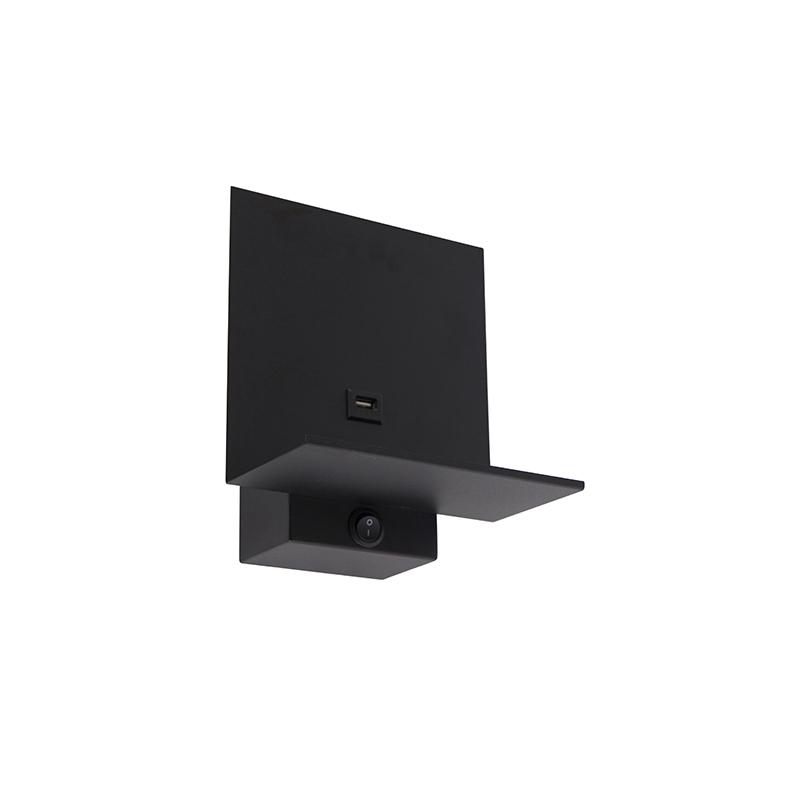 Nowoczesny kinkiet czarny ze złączem USB - Flero