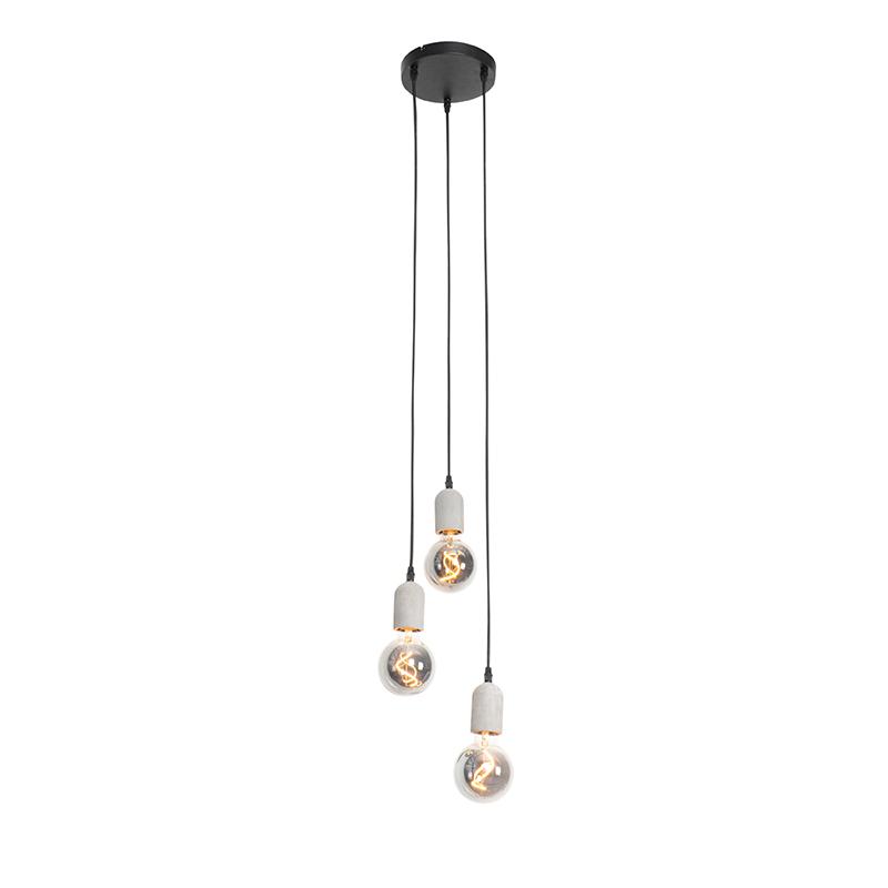 Industriële hanglamp zwart met beton rond 3-lichts - Pedra